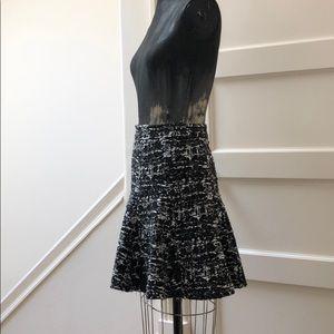 High waist textured jersey knit swing skirt